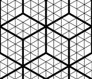 Contrast black and white symmetric seamless pattern with interwe. Ave figures. Continuous geometric composition, for use in graphic design Royalty Free Stock Photography