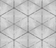 Contrast black and white symmetric seamless pattern with interwe. Ave figures. Continuous geometric 3d composition, for use in graphic design Stock Photos