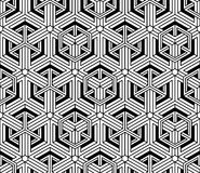 Contrast black and white symmetric seamless pattern. With interweave figures. Continuous geometric composition, for use in graphic design vector illustration