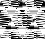 Contrast black and white symmetric seamless pattern. With interweave figures. Continuous geometric composition, for use in graphic design Royalty Free Stock Photography
