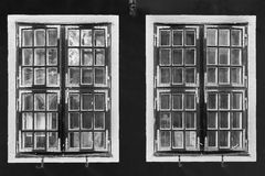 Contrast black and white vintage windows with reflections. Contrast black and white vintage windows with  reflections Stock Image
