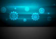 Contrast blue and black tech background with gears Royalty Free Stock Photo