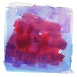 Contrast blue and crimson watercolor hand painted background royalty free illustration