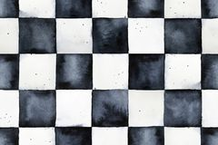 Seamless watercolor chessboard pattern. royalty free illustration
