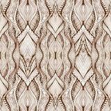 Contrast Brown Zentangle Seamless Ornament Royalty Free Stock Photography