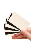 Contrast business card in hand Stock Photos