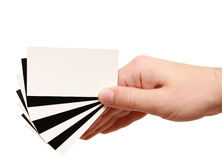 Contrast business card in hand Royalty Free Stock Images