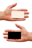 Contrast business cards in hand. Two business cards in hand. white and black Royalty Free Stock Photography