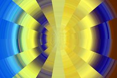 Contrast circles in yellow and blue hues, background Stock Photography