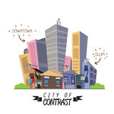 Contrast city between downtown and slum. difference -  Royalty Free Stock Images
