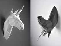 Contrast collage of two photos of black and white unicorns. Innovative interior design details. Straight lines. Original geometrical shape. decoration. Shadows stock photo
