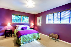Contrast color beautiful bedroom Royalty Free Stock Image