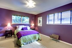 Contrast color beautiful bedroom Stock Image