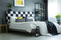 Contrast color king-size bed stock photos