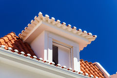 Contrast and colorful tile roofs view Royalty Free Stock Photo