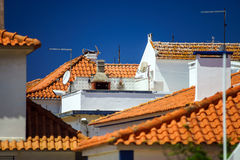 Contrast and colorful tile roofs view Royalty Free Stock Photography