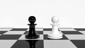 Contrast concept using white and black chess pawns 3d rendering.  Stock Photography