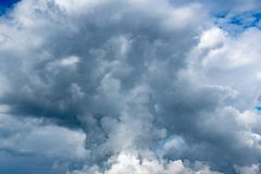 Contrast dramatic cloudy sky. The sky with thunder clouds stock photography