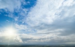 Contrast dramatic cloudy sky. The sky with thunder clouds royalty free stock images