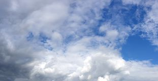 Contrast dramatic cloudy sky. The sky with thunder clouds royalty free stock photo