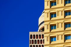 Contrast in Dubai. Three different building found in Dubai. I have been attracted from the contrast with the sky royalty free stock image