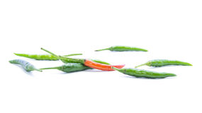 Contrast green and red chili pepper Stock Image