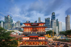 Contrast of historical architecture with modern backdrop - Singa Stock Photo