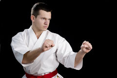 Contrast karate young fighter on black. High Contrast karate male fighter on black background Royalty Free Stock Photos
