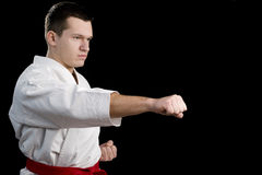 Contrast karate young fighter on black. High Contrast karate male fighter on black background stock photos