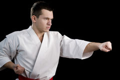 Contrast karate young fighter on black. High Contrast karate male fighter on black background Royalty Free Stock Photo