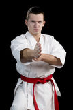 Contrast karate young fighter on black Stock Photo