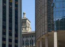 Contrast between modern and old architecture. San Francisco, California, USA Stock Photos
