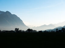 Contrast between mountains and trees in the morning. A strong contrast of the trees against the mountains. The sun is just about to rise behind the mountains Royalty Free Stock Photo