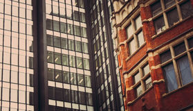 Contrast between new and old architecture in London Stock Photography