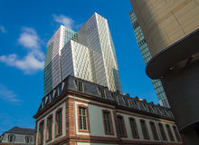 Contrast of old and modern architecture in Frankfurt, Germany Stock Photo