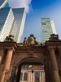 Contrast of old and modern architecture in Frankfurt, Germany Royalty Free Stock Photos