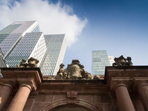 Contrast of old and modern architecture in Frankfurt, Germany Stock Photos