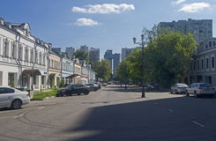 Contrast between the old and the modern urban buildings. Moscow, Royalty Free Stock Photo