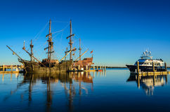 Contrast of Old and New Ships - Galeón Andalucía /Andalusia Ga Stock Photo