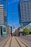 Contrast between old and super modern buildings at downtown of Vienna Stock Photo