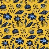 Contrast oranje bloemenpatroon met zwarte bloemen vector illustratie