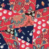 Contrast patchwork floral pattern. Summer design. Vector template.  stock illustration