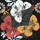 Contrast Pattern with Butterfly silhouettes on blossom flowers Stock Photos