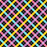 Contrast plaid fabric background with yellow blue and pink. Abst Stock Photos