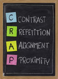Contrast, repetition, alignment and proximity - CRAP. CRAP - contrast, repetition, alignment and proximity, the four principles of sound design, white chalk Royalty Free Stock Image