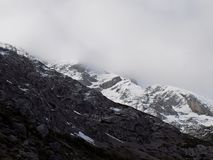 Contrast of rock, clouds and snow. With very impressive contrasts of the Palencia mountain royalty free stock images