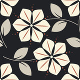Contrast seamless pattern with decorative flowers and leaves Royalty Free Stock Photography