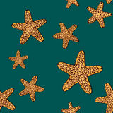 Contrast seamless pattern with orange seafishes on a dark green background. Stock Photos