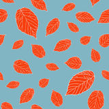 Contrast seamless pattern with red raspberry leaves on a grey field. Royalty Free Stock Photos
