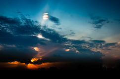 Contrast the sky with clouds at sunset Royalty Free Stock Photography